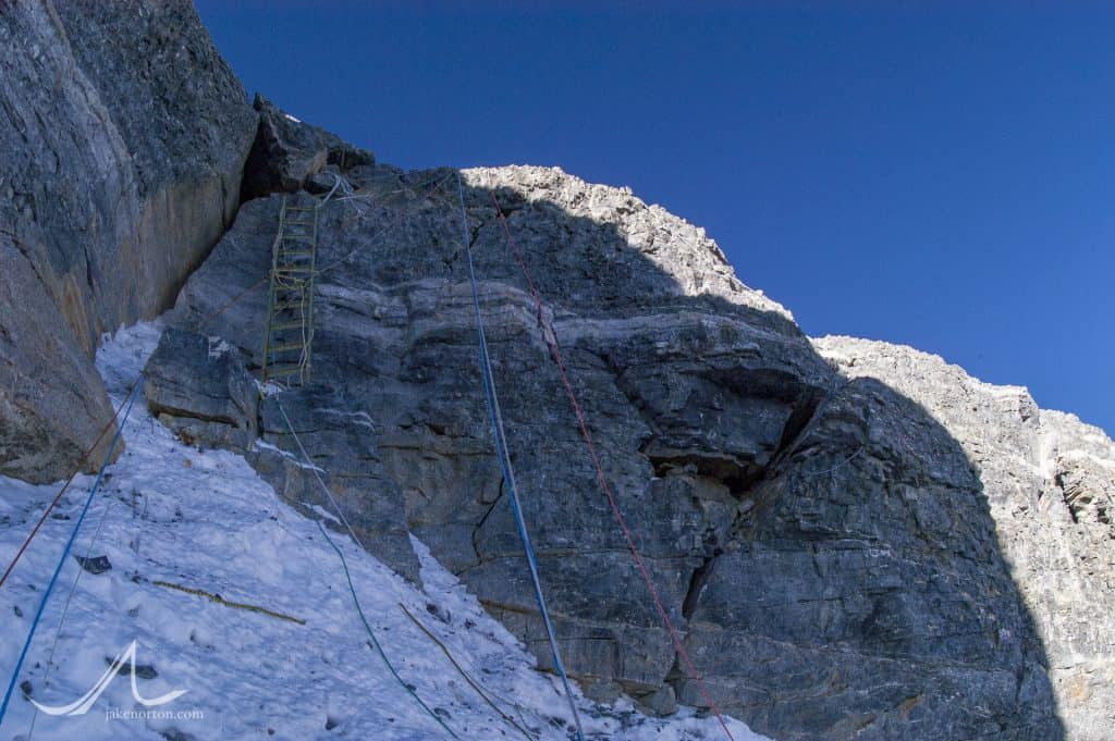 The final headwall of the Second Step on Mount Everest's Northeast Ridge.