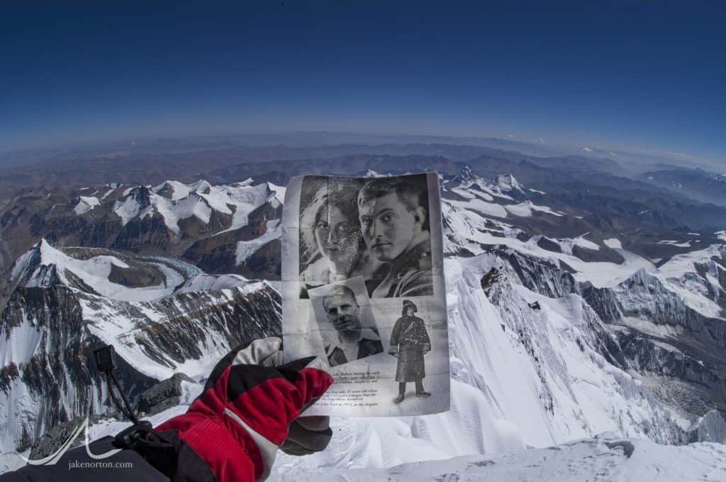 They made it! Picture of Geore Leigh Mallory - Everest pioneer - and his wife, Ruth, along with Mallory's partner, Andrew Comyn Irvine, held by photographer Jake Norton on the summit of Everest on May 30, 2003.