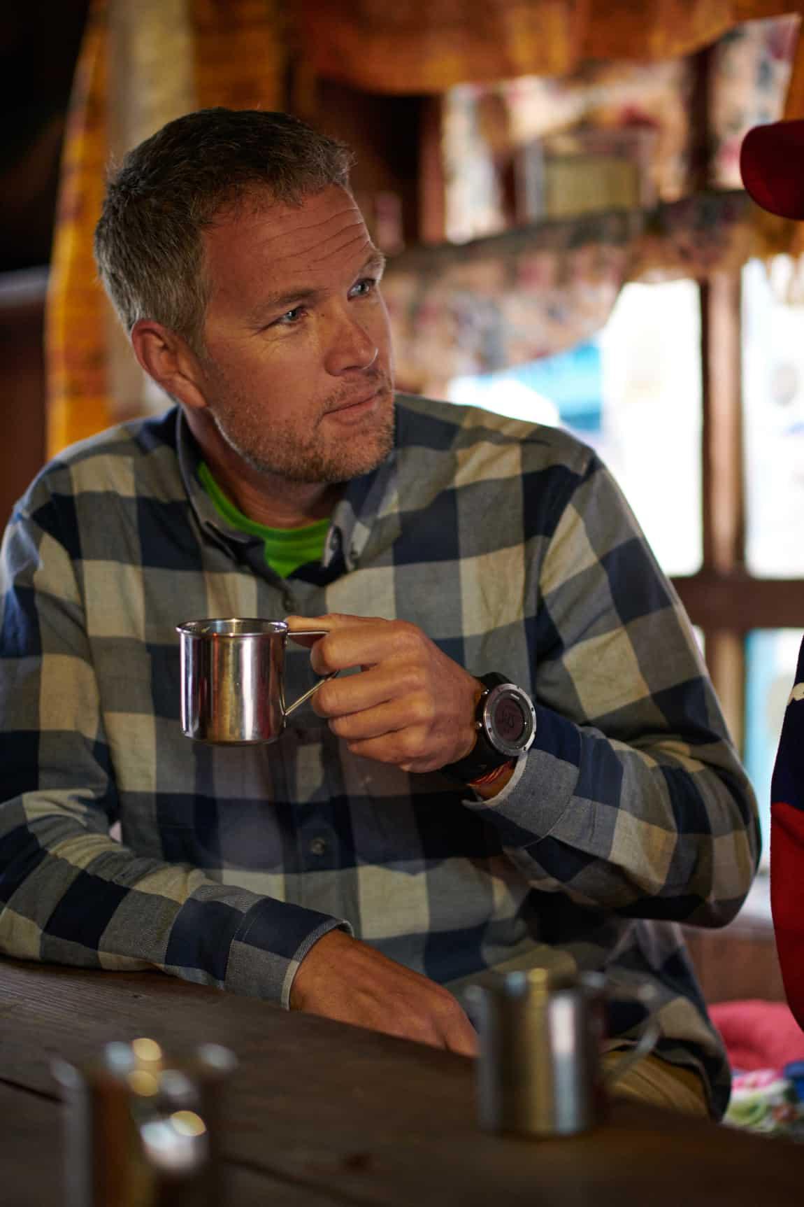 Enjoying a cup of tea and conversation, Nepal. | April, 2018