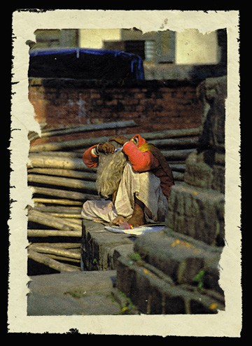 Preening, Kathmandu, Nepal, 2000.