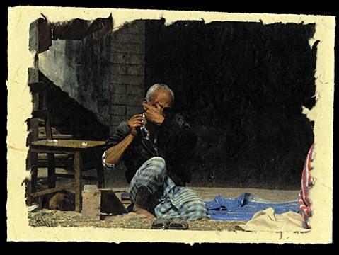 Shaving, Kathmandu, Nepal, 2001.
