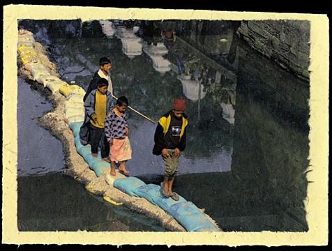 Crossing the Bagmati, Kathmandu, Nepal, 2001.
