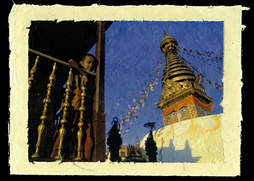 Young Monk at Swyambhunath, Kathmandu, Nepal, 2001.