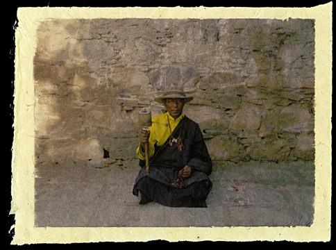 Pilgrim at Ganden Monastery, Tibet, 2000.