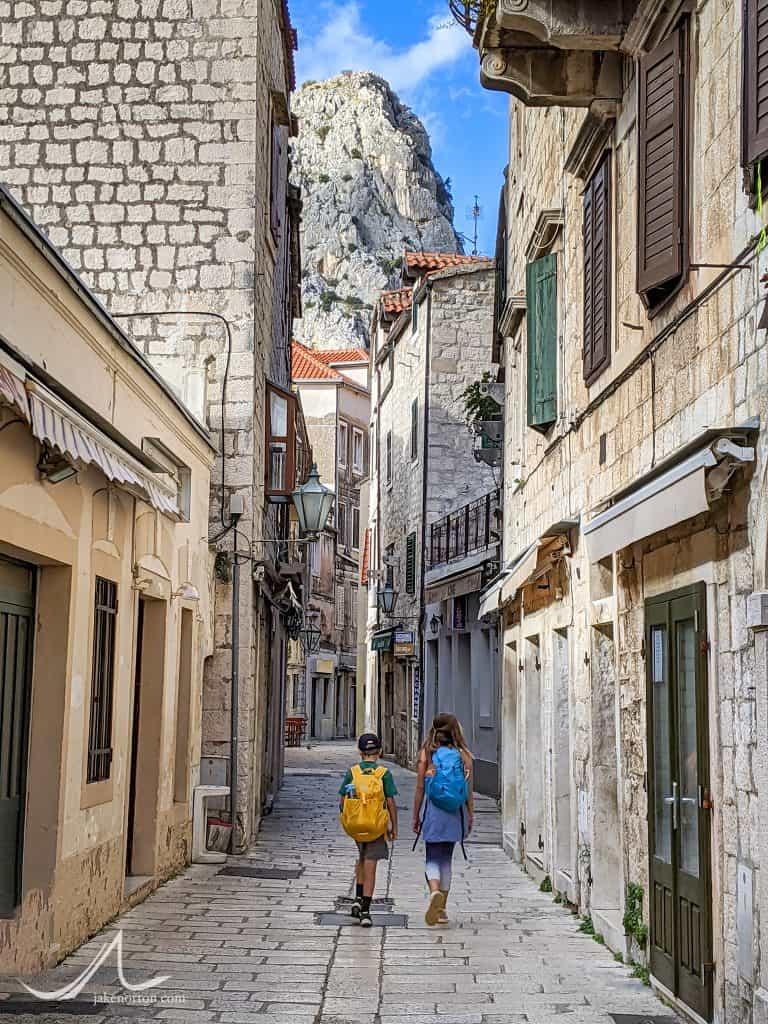 Children walk through the streets of Omiš, Croatia.