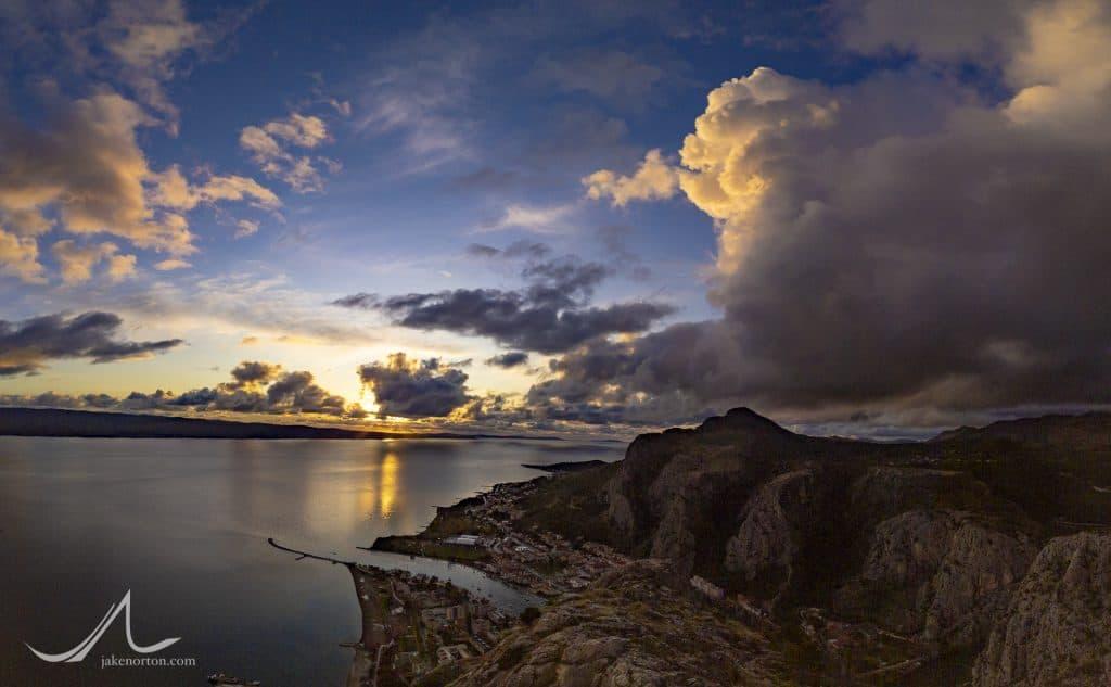 Sunset over the Adriatic Sea from Omiš, Croatia.