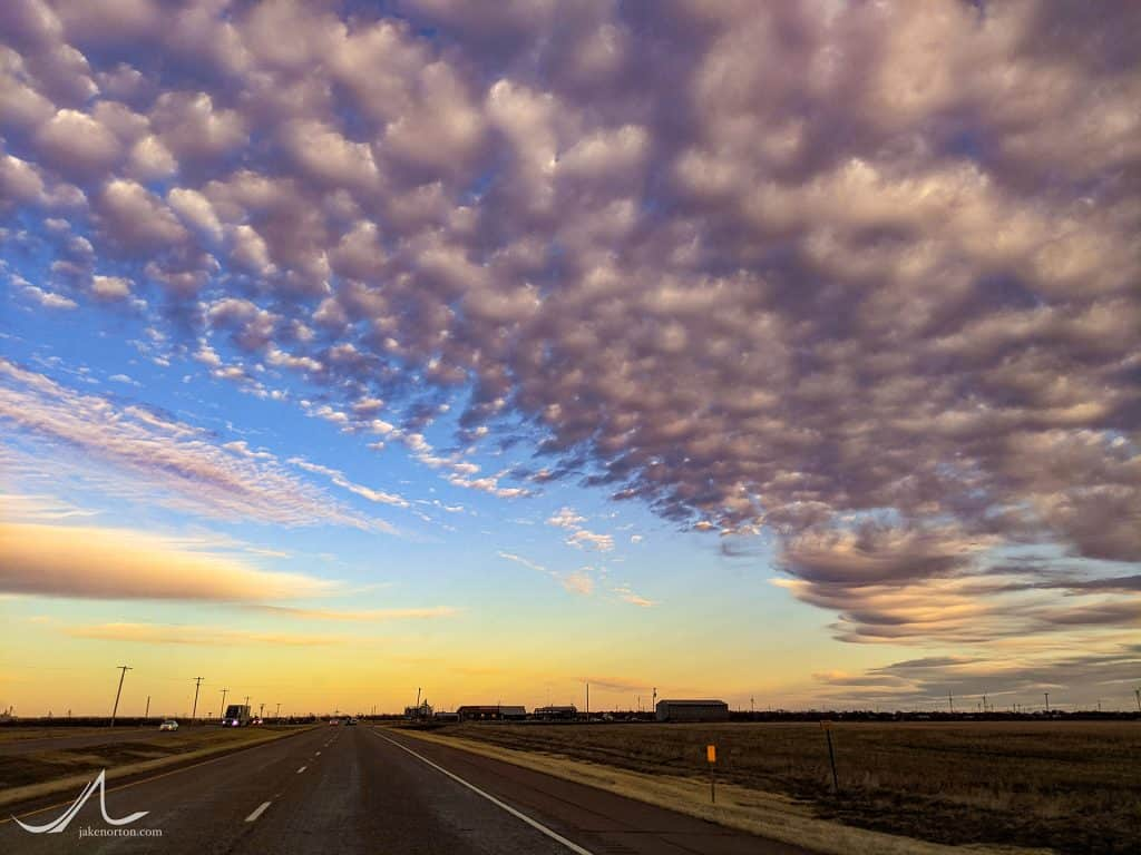 Mammatus clouds at dusk over West Texas.