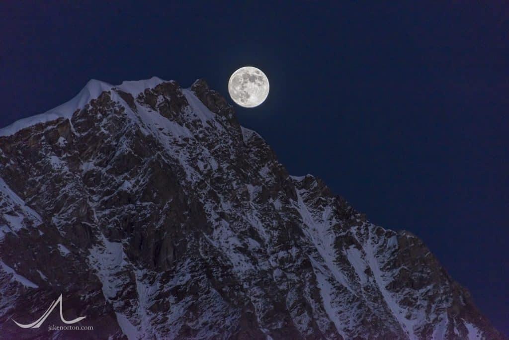 The full moon rises over high peaks of the Garhwal Himalaya on the upper Gangotri Glacier, Uttarakhand, India.