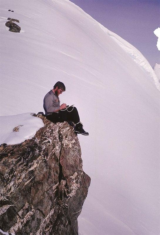 John Evans journaling in Antarctica, 1964.