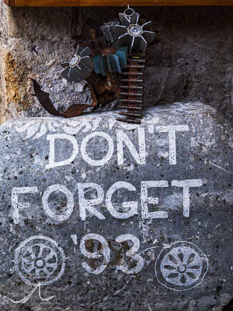 War memorial in Mostar, Bosnia and Herzegovina.