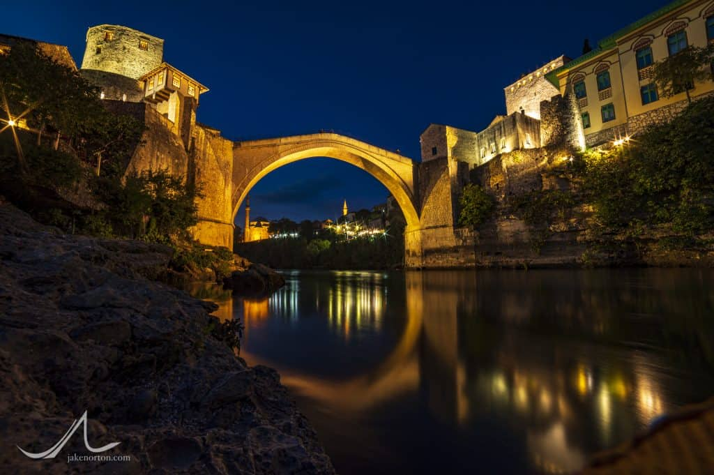 The Stari Most, or Old Bridge, spanning the Neretva River in Mostat, Bosnia and Herzegovina.