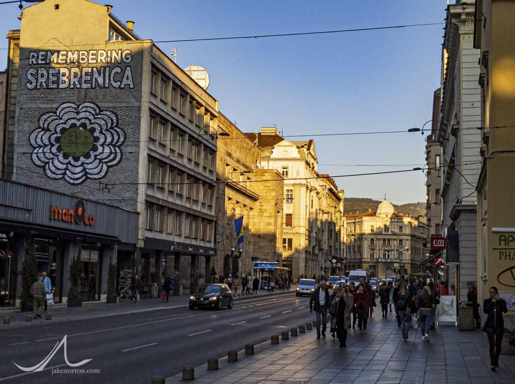 Srebrenica memorial, downtown Sarajevo, Bosnia and Herzogovina.