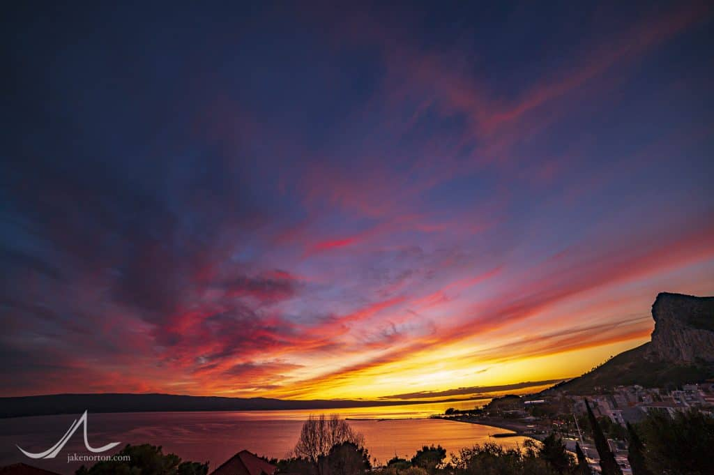 Sunset over the Adriatic Sea from Omiš, Croatia.
