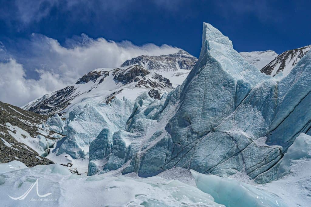 The North Face of Mount Everest rises above seracs at 20,500 feet on the East Rongbuk Glacier, Tibet.