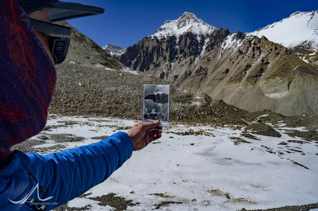 Confirming the location of the 1924 Camp II from an historic photograph taken on the Rongbuk Glacier, Mount Everest, Tibet.
