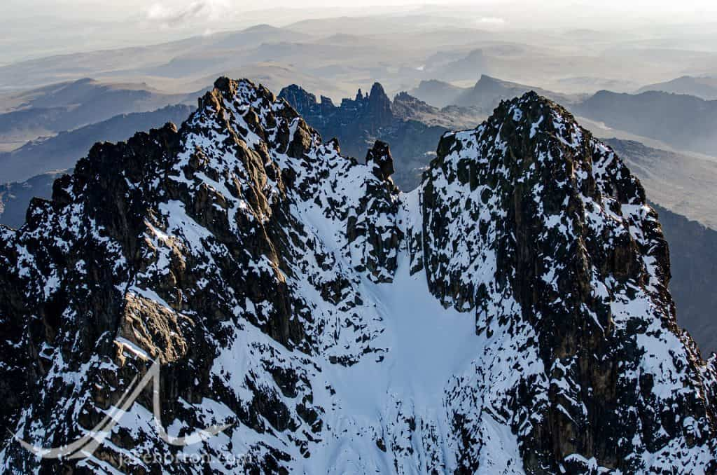 The twin summits of Mt. Kenya - Nelion (right) and Batian (left) as viewed from the air.