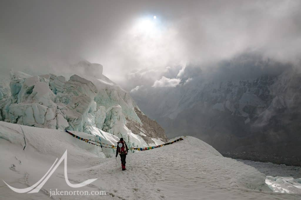 A climber descends from Camp 1 into the Khumbu Icefall on Mount Everest, Nepal.